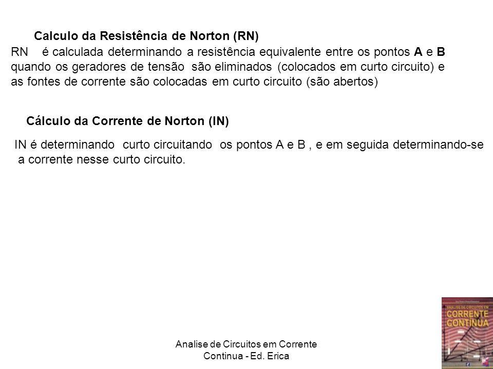 Analise de Circuitos em Corrente Continua - Ed. Erica Calculo da Resistência de Norton (RN) RN é calculada determinando a resistência equivalente entr