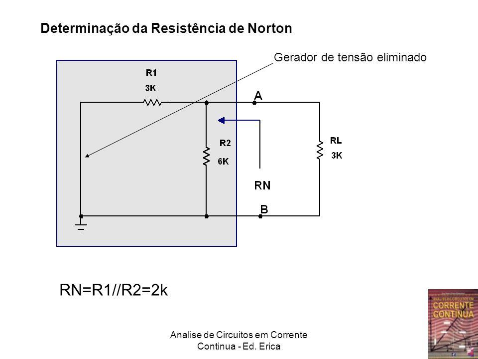 Analise de Circuitos em Corrente Continua - Ed. Erica Determinação da Resistência de Norton RN=R1//R2=2k Gerador de tensão eliminado