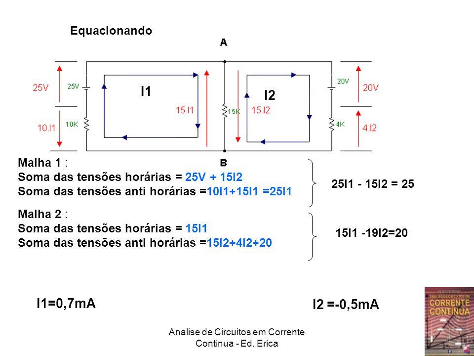 Analise de Circuitos em Corrente Continua - Ed. Erica Malha 1 : Soma das tensões horárias = 25V + 15I2 Soma das tensões anti horárias =10I1+15I1 =25I1