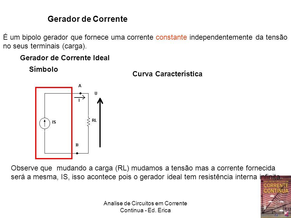 Analise de Circuitos em Corrente Continua - Ed. Erica Gerador de Corrente É um bipolo gerador que fornece uma corrente constante independentemente da