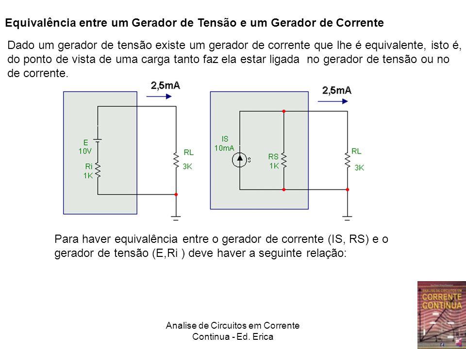 Analise de Circuitos em Corrente Continua - Ed. Erica Equivalência entre um Gerador de Tensão e um Gerador de Corrente Dado um gerador de tensão exist