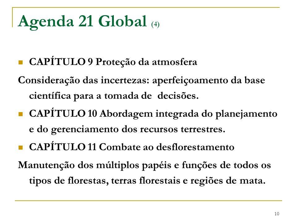 10 Agenda 21 Global (4) CAPÍTULO 9 Proteção da atmosfera Consideração das incertezas: aperfeiçoamento da base científica para a tomada de decisões. CA