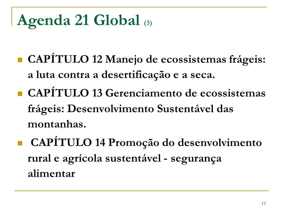 11 Agenda 21 Global (5) CAPÍTULO 12 Manejo de ecossistemas frágeis: a luta contra a desertificação e a seca. CAPÍTULO 13 Gerenciamento de ecossistemas