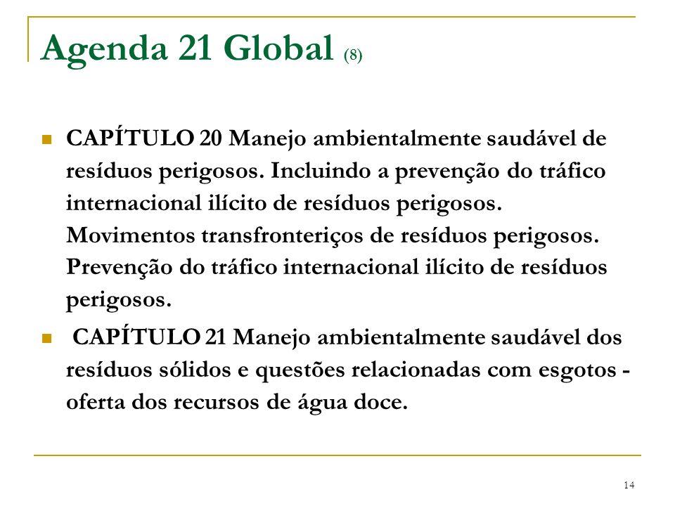 14 Agenda 21 Global (8) CAPÍTULO 20 Manejo ambientalmente saudável de resíduos perigosos. Incluindo a prevenção do tráfico internacional ilícito de re