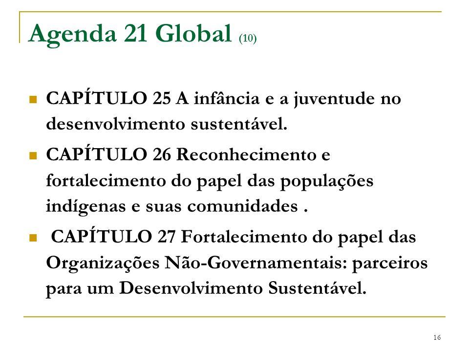 16 Agenda 21 Global (10) CAPÍTULO 25 A infância e a juventude no desenvolvimento sustentável. CAPÍTULO 26 Reconhecimento e fortalecimento do papel das