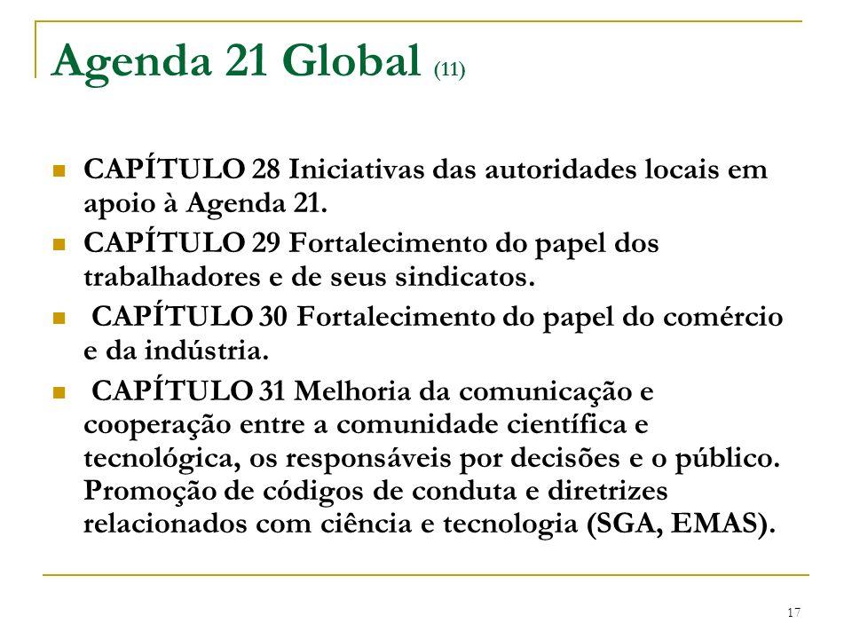 17 Agenda 21 Global (11) CAPÍTULO 28 Iniciativas das autoridades locais em apoio à Agenda 21. CAPÍTULO 29 Fortalecimento do papel dos trabalhadores e
