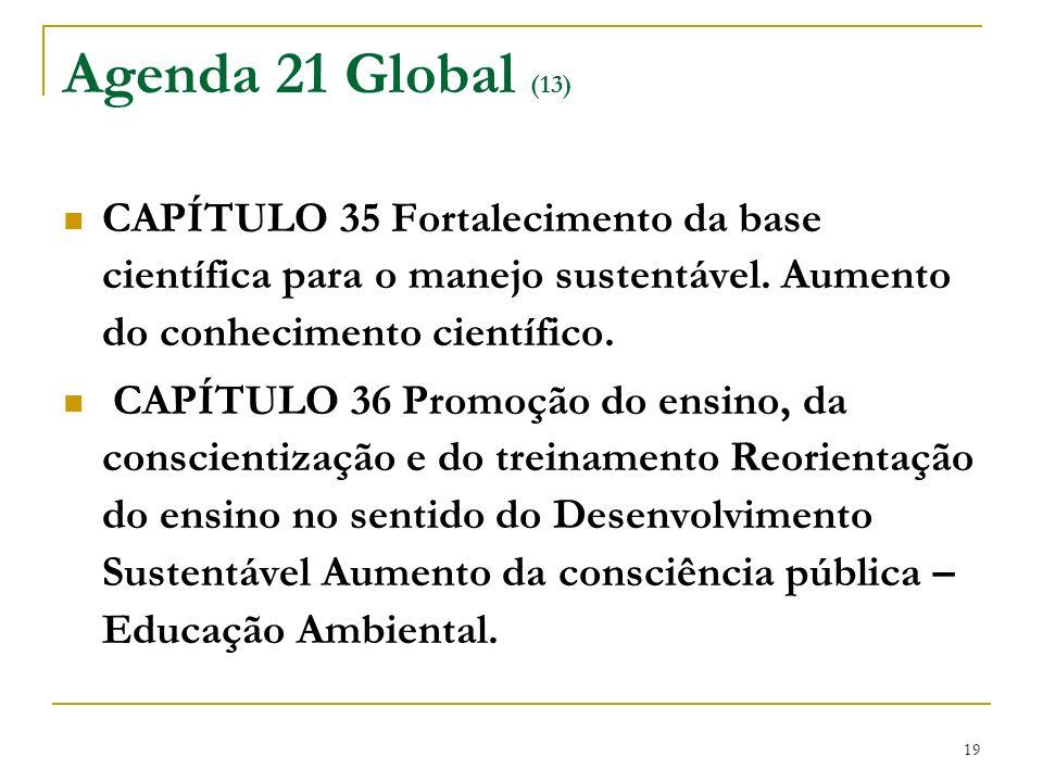19 Agenda 21 Global (13) CAPÍTULO 35 Fortalecimento da base científica para o manejo sustentável. Aumento do conhecimento científico. CAPÍTULO 36 Prom
