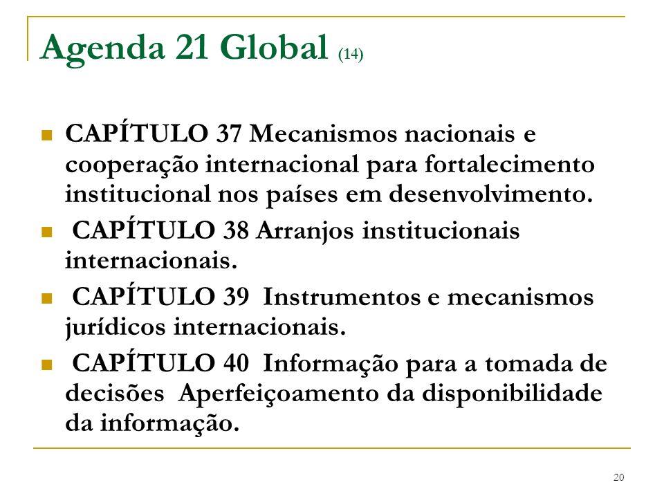 20 Agenda 21 Global (14) CAPÍTULO 37 Mecanismos nacionais e cooperação internacional para fortalecimento institucional nos países em desenvolvimento.