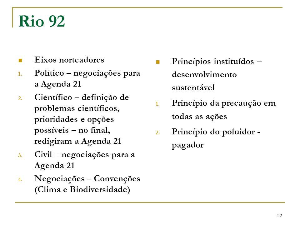 22 Rio 92 Eixos norteadores 1. Político – negociações para a Agenda 21 2. Científico – definição de problemas científicos, prioridades e opções possív
