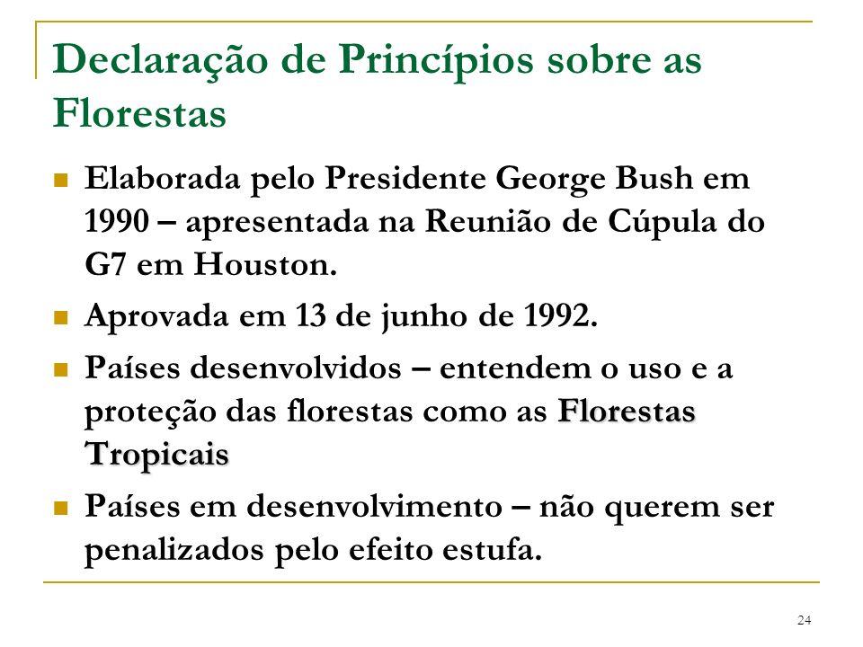 24 Declaração de Princípios sobre as Florestas Elaborada pelo Presidente George Bush em 1990 – apresentada na Reunião de Cúpula do G7 em Houston. Apro