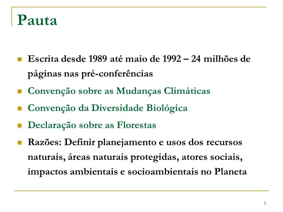6 Produtos Declaração do Rio – escrita e assinada pelos governos – princípios para o desenvolvimento sustentável Carta da Terra – Escrita pelas ONGs no Fórum Global – não assinada pelos governos mas apoiada pela UNESCO Carta da Terra – Escrita pelas ONGs no Fórum Global – não assinada pelos governos mas apoiada pela UNESCO Agenda 21 (Action 21) – Plano de Ação que inclui sociedade civil e ONGs, cujas bases e metas, dão os parâmetros para alcançar o desenvolvimento sustentável