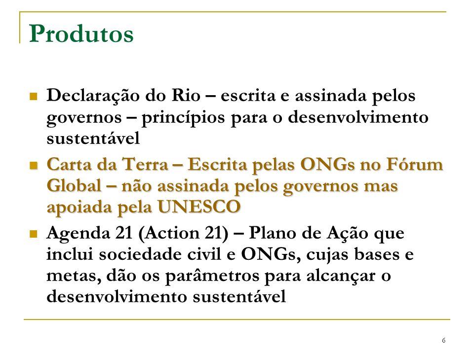 6 Produtos Declaração do Rio – escrita e assinada pelos governos – princípios para o desenvolvimento sustentável Carta da Terra – Escrita pelas ONGs n