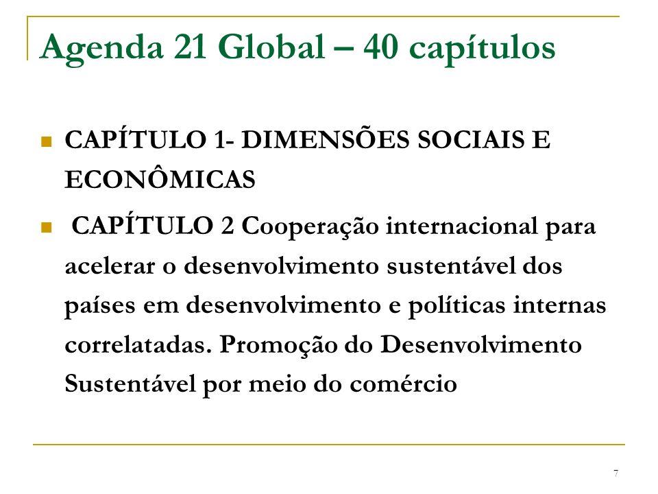 7 Agenda 21 Global – 40 capítulos CAPÍTULO 1- DIMENSÕES SOCIAIS E ECONÔMICAS CAPÍTULO 2 Cooperação internacional para acelerar o desenvolvimento suste