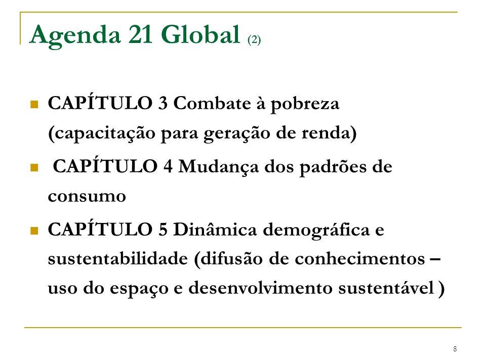 8 Agenda 21 Global (2) CAPÍTULO 3 Combate à pobreza (capacitação para geração de renda) CAPÍTULO 4 Mudança dos padrões de consumo CAPÍTULO 5 Dinâmica