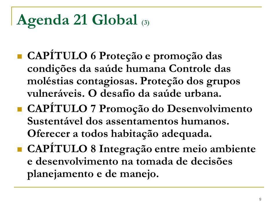 9 Agenda 21 Global (3) CAPÍTULO 6 Proteção e promoção das condições da saúde humana Controle das moléstias contagiosas. Proteção dos grupos vulnerávei