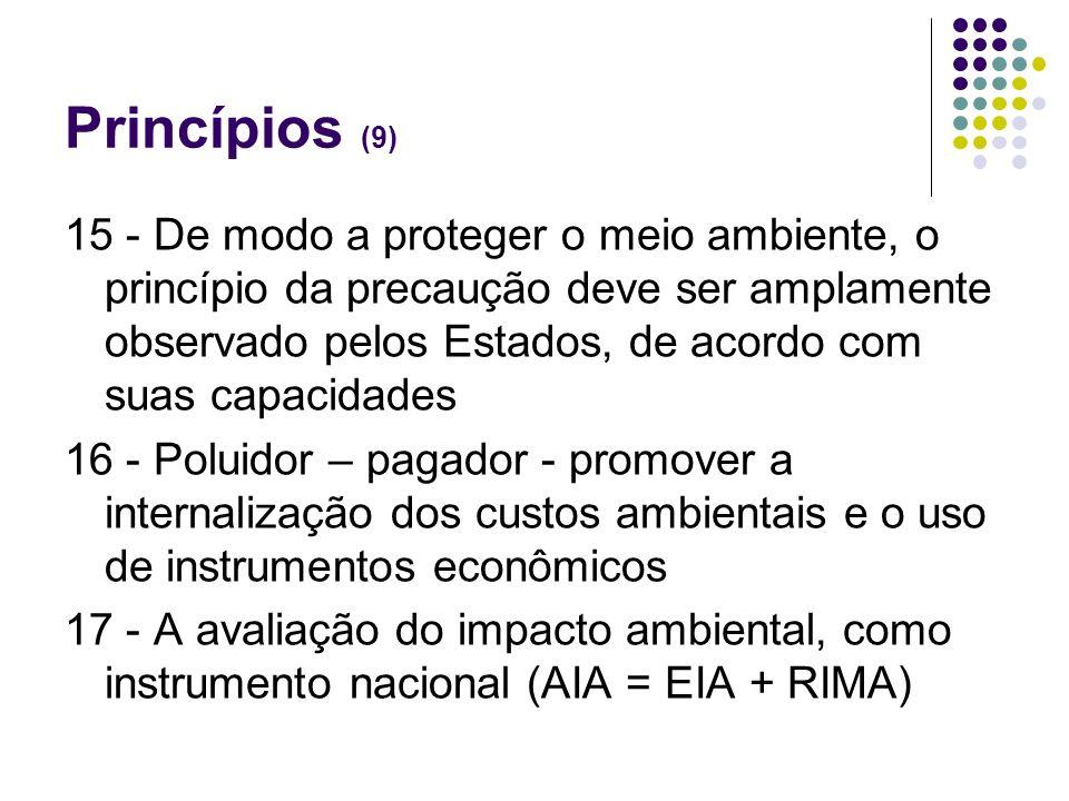 Princípios (9) 15 - De modo a proteger o meio ambiente, o princípio da precaução deve ser amplamente observado pelos Estados, de acordo com suas capac