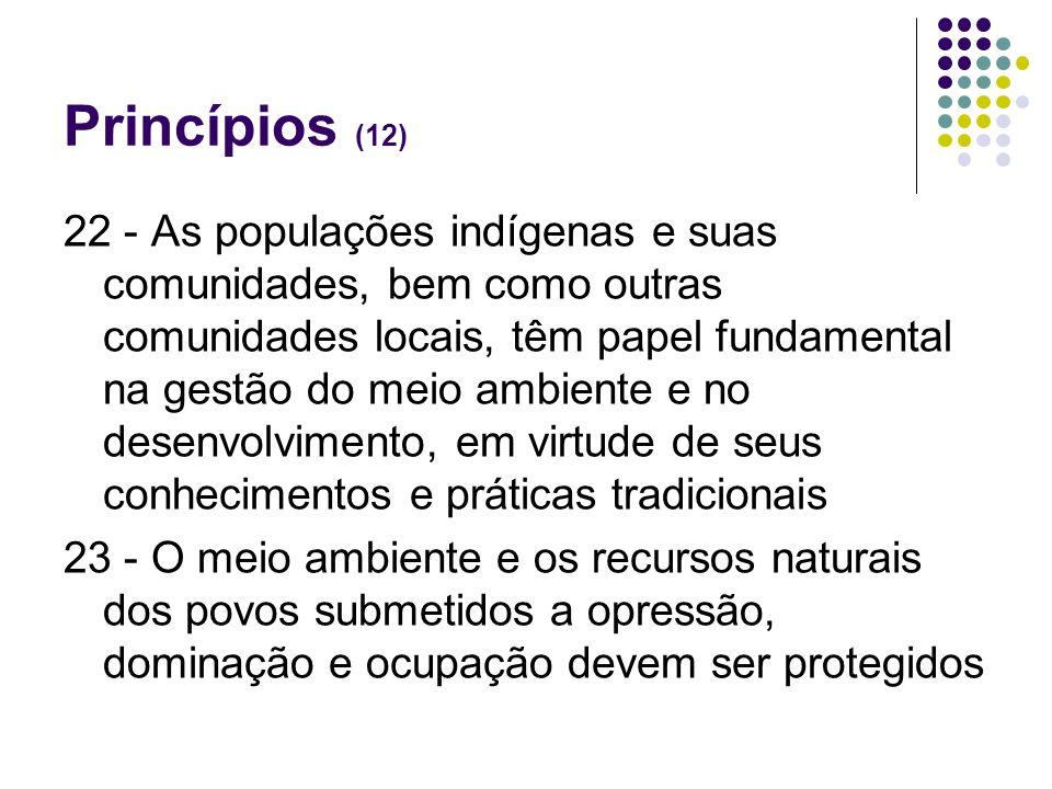 Princípios (12) 22 - As populações indígenas e suas comunidades, bem como outras comunidades locais, têm papel fundamental na gestão do meio ambiente