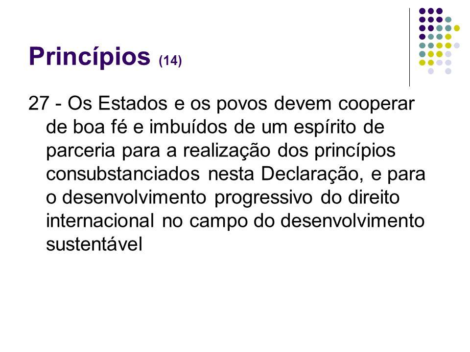 Princípios (14) 27 - Os Estados e os povos devem cooperar de boa fé e imbuídos de um espírito de parceria para a realização dos princípios consubstanc