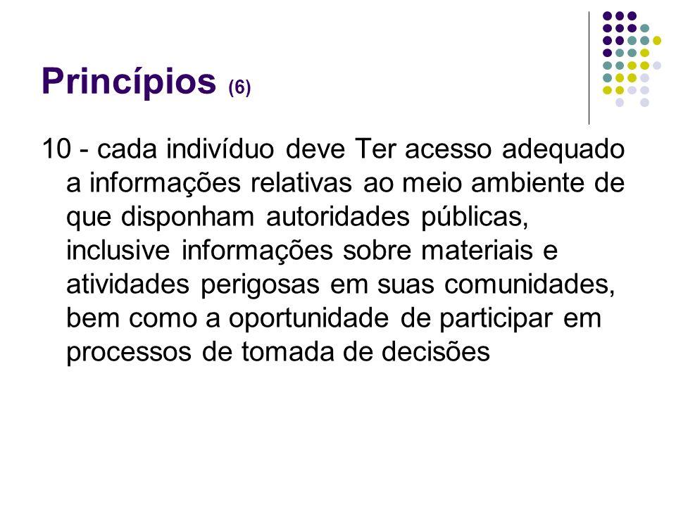 Princípios (6) 10 - cada indivíduo deve Ter acesso adequado a informações relativas ao meio ambiente de que disponham autoridades públicas, inclusive