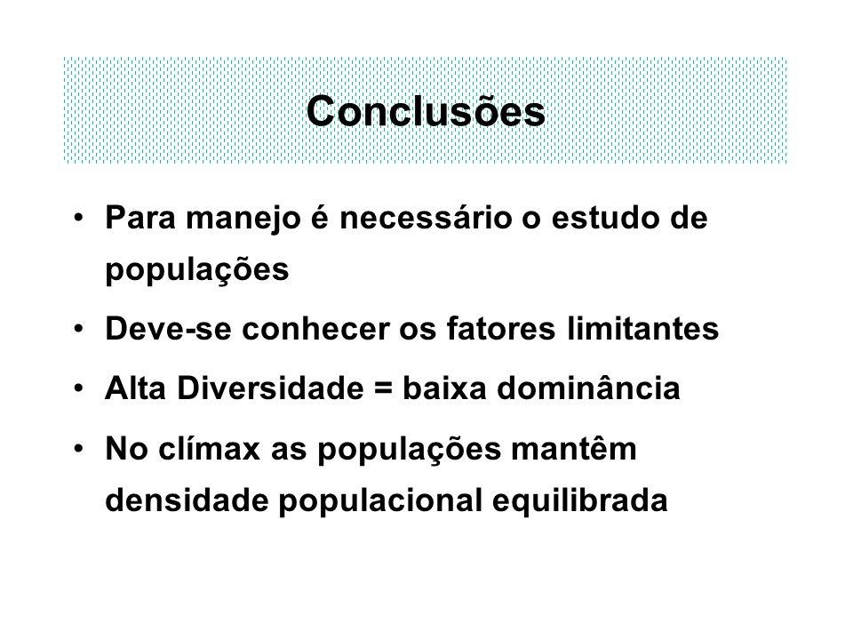 Conclusões Para manejo é necessário o estudo de populações Deve-se conhecer os fatores limitantes Alta Diversidade = baixa dominância No clímax as pop