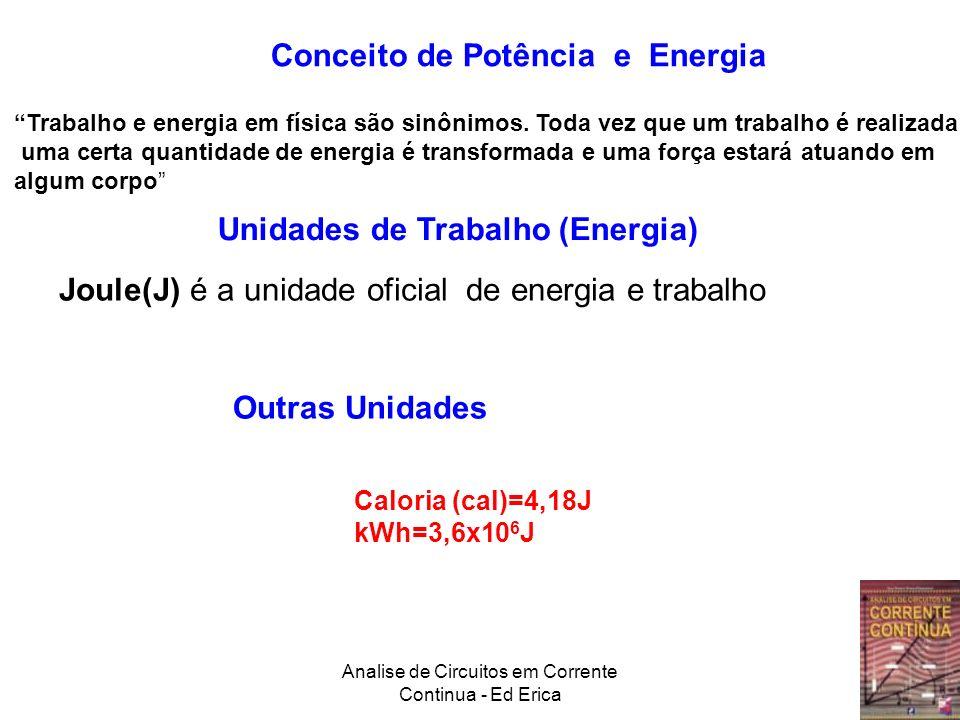 Analise de Circuitos em Corrente Continua - Ed Erica Unidades de Potência Outra Unidade: HP1H.P=746W Potencia e trabalho (energia transformada) estão relacionadas por: ou OBS: A letra W, em alguns livros, é usada para representar trabalho (work em inglês) não é usada para não confundir com W de Watt