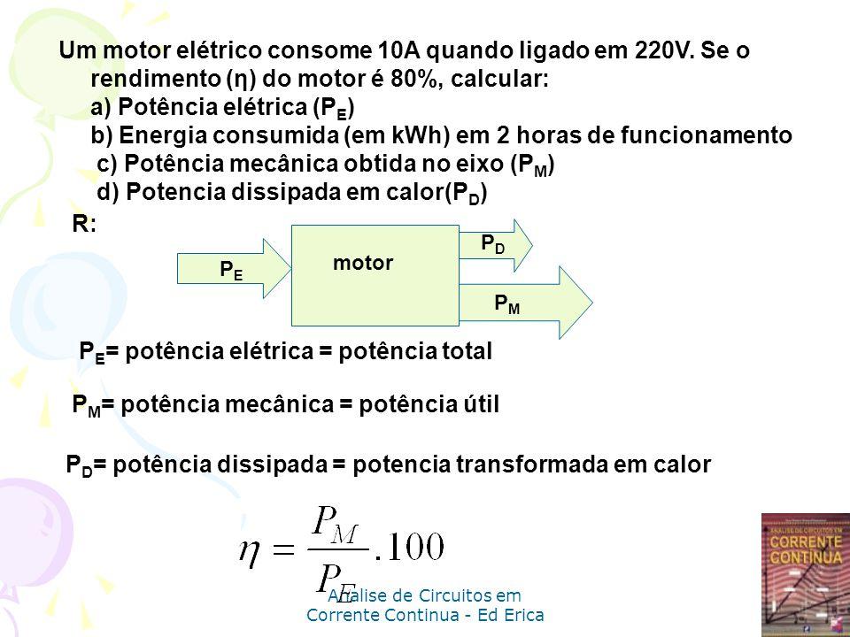 Analise de Circuitos em Corrente Continua - Ed Erica Um motor elétrico consome 10A quando ligado em 220V. Se o rendimento (η) do motor é 80%, calcular