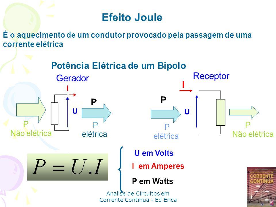 Analise de Circuitos em Corrente Continua - Ed Erica P E =P M +P D conservação da energia b) c) a) d) R: