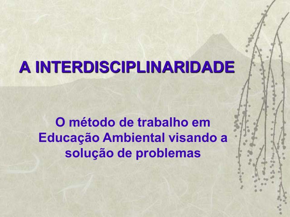 A INTERDISCIPLINARIDADE O método de trabalho em Educação Ambiental visando a solução de problemas