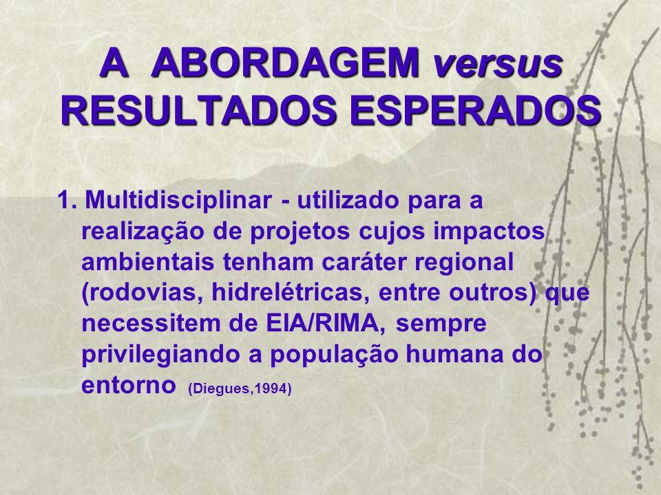 A ABORDAGEM versus RESULTADOS ESPERADOS 1. Multidisciplinar - utilizado para a realização de projetos cujos impactos ambientais tenham caráter regiona