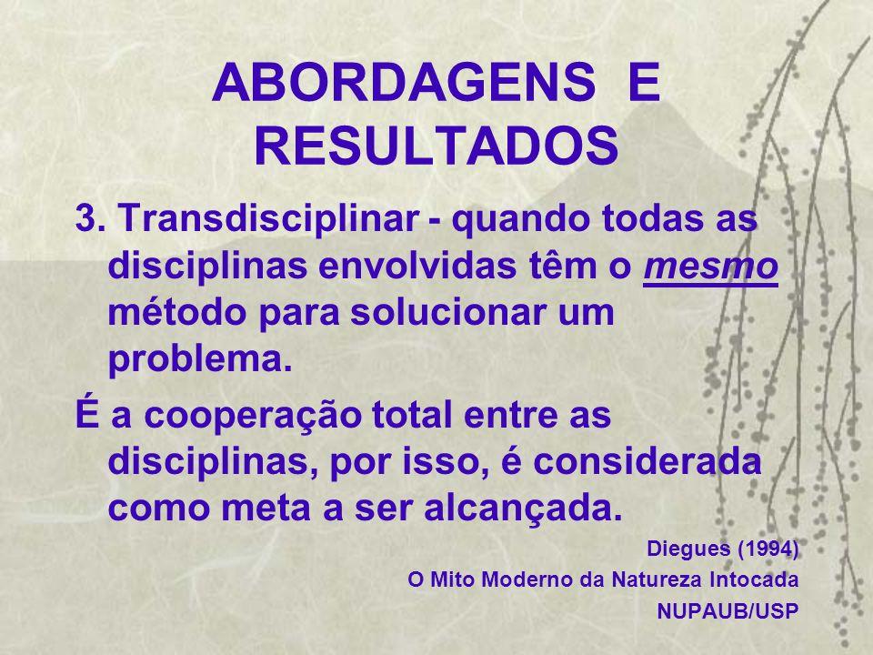ABORDAGENS E RESULTADOS 3. Transdisciplinar - quando todas as disciplinas envolvidas têm o mesmo método para solucionar um problema. É a cooperação to