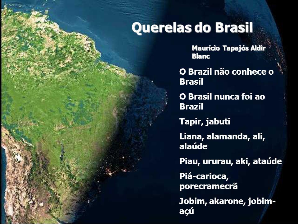 Uou, uou, uou Pererê, câmara, tororó, olerê Piriri, ratatá, caratê, olará O Brazil não merece o Brasil O Brazil tá matando o Brasil Jereba saci Caandrades, cunhas, ariranha, aranha Sertões, Guimarães, bachianas, águas Imarionaíma, arirabóia Na aura das mãos de jobim - açú uou, uou, uou Jererê, sarará, cururu, olerê Blá-blá-blá, bafafá, sururu, olará