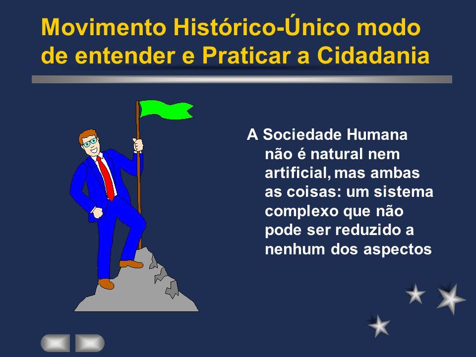 Movimento Histórico-Único modo de entender e Praticar a Cidadania A Sociedade Humana não é natural nem artificial, mas ambas as coisas: um sistema com