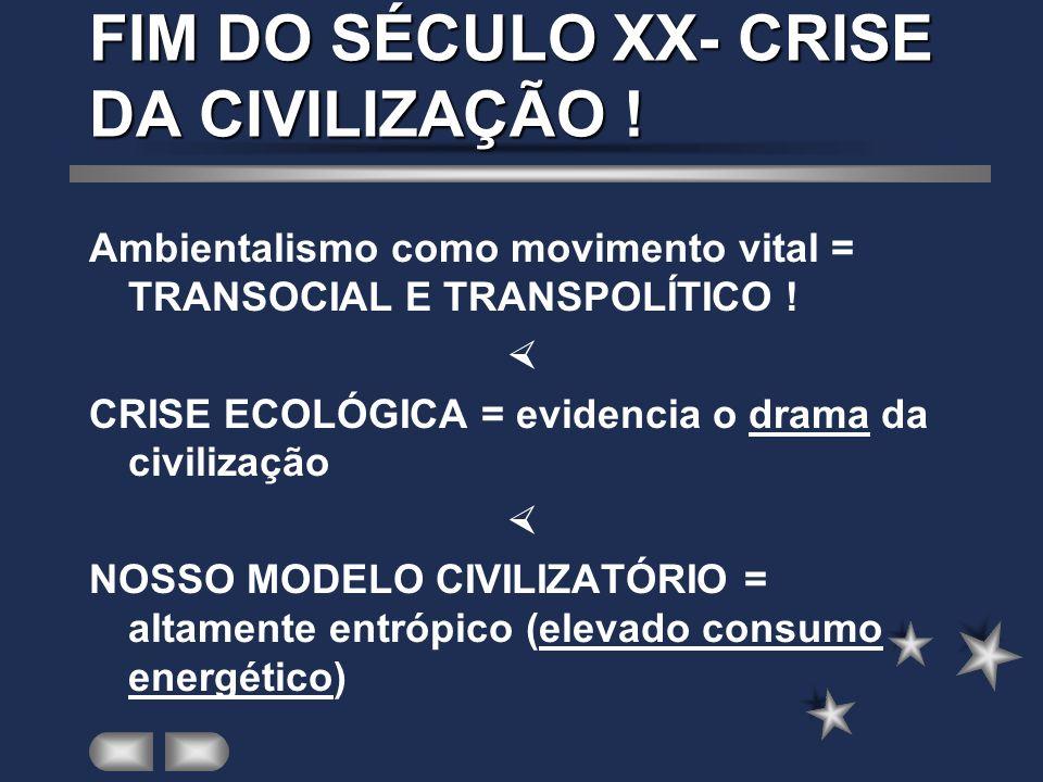 FIM DO SÉCULO XX- CRISE DA CIVILIZAÇÃO ! Ambientalismo como movimento vital = TRANSOCIAL E TRANSPOLÍTICO ! CRISE ECOLÓGICA = evidencia o drama da civi