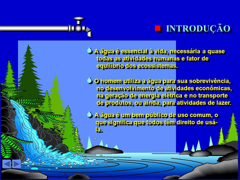 A água é um bem público de uso comum, o que significa que todos têm direito de usá- la.