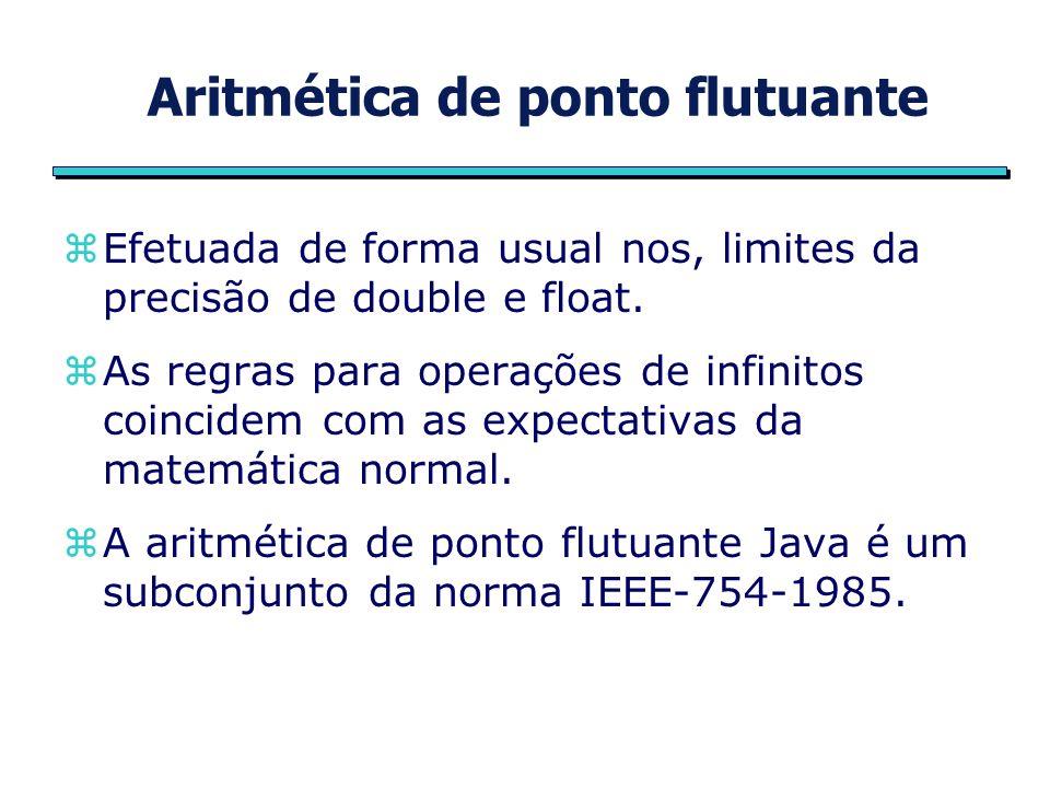 Aritmética de ponto flutuante zEfetuada de forma usual nos, limites da precisão de double e float.