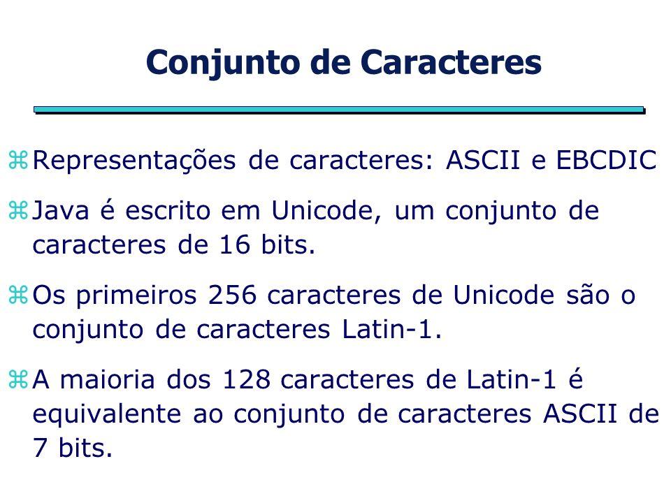 Conjunto de Caracteres zRepresentações de caracteres: ASCII e EBCDIC zJava é escrito em Unicode, um conjunto de caracteres de 16 bits.