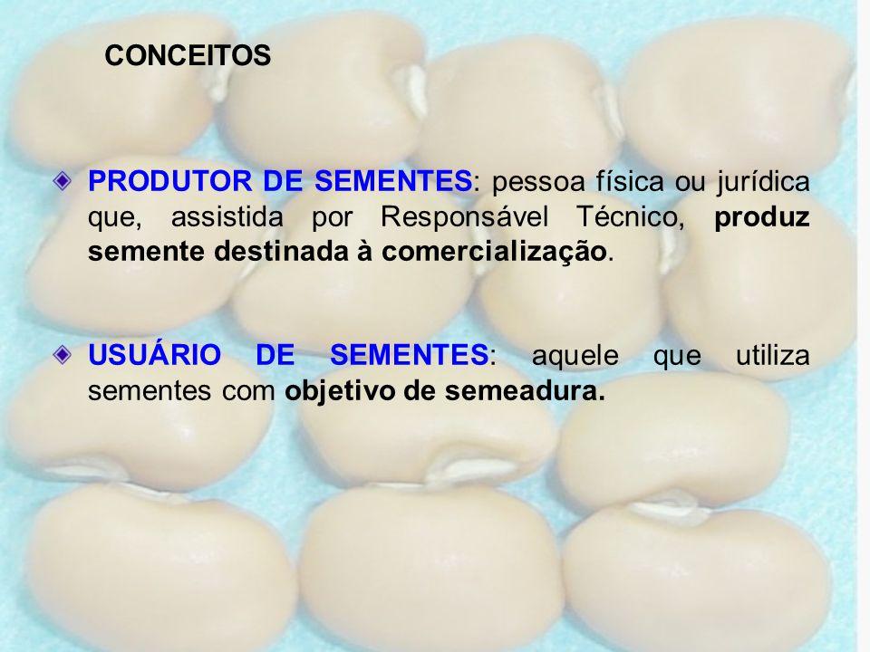 PRODUTOR DE SEMENTES: pessoa física ou jurídica que, assistida por Responsável Técnico, produz semente destinada à comercialização. USUÁRIO DE SEMENTE