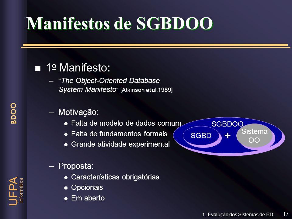 Informática UFPA BDOO 17 Manifestos de SGBDOO n 1 o Manifesto: –The Object-Oriented Database System Manifesto [Atkinson et al.1989] –Motivação: l Falt