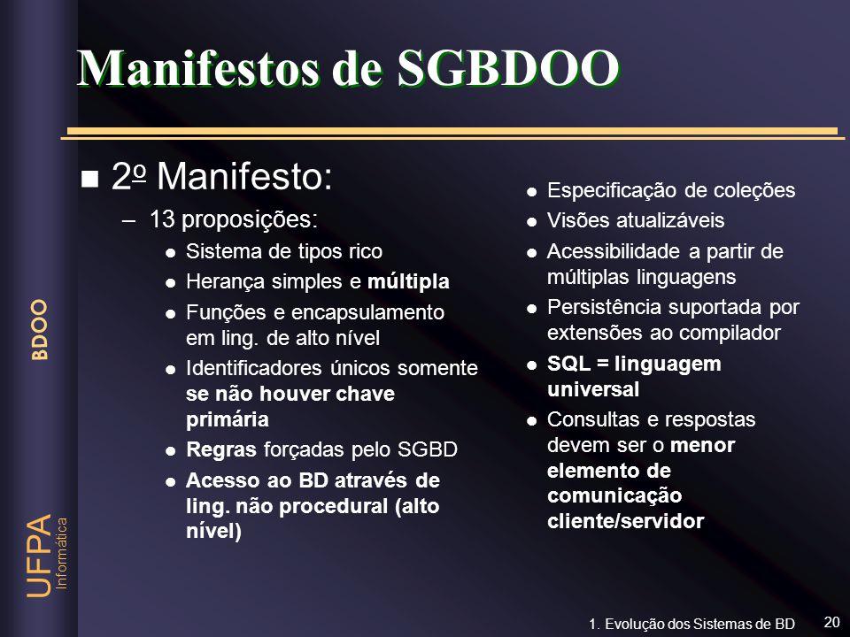 Informática UFPA BDOO 20 n 2 o Manifesto: –13 proposições: l Sistema de tipos rico l Herança simples e múltipla l Funções e encapsulamento em ling. de