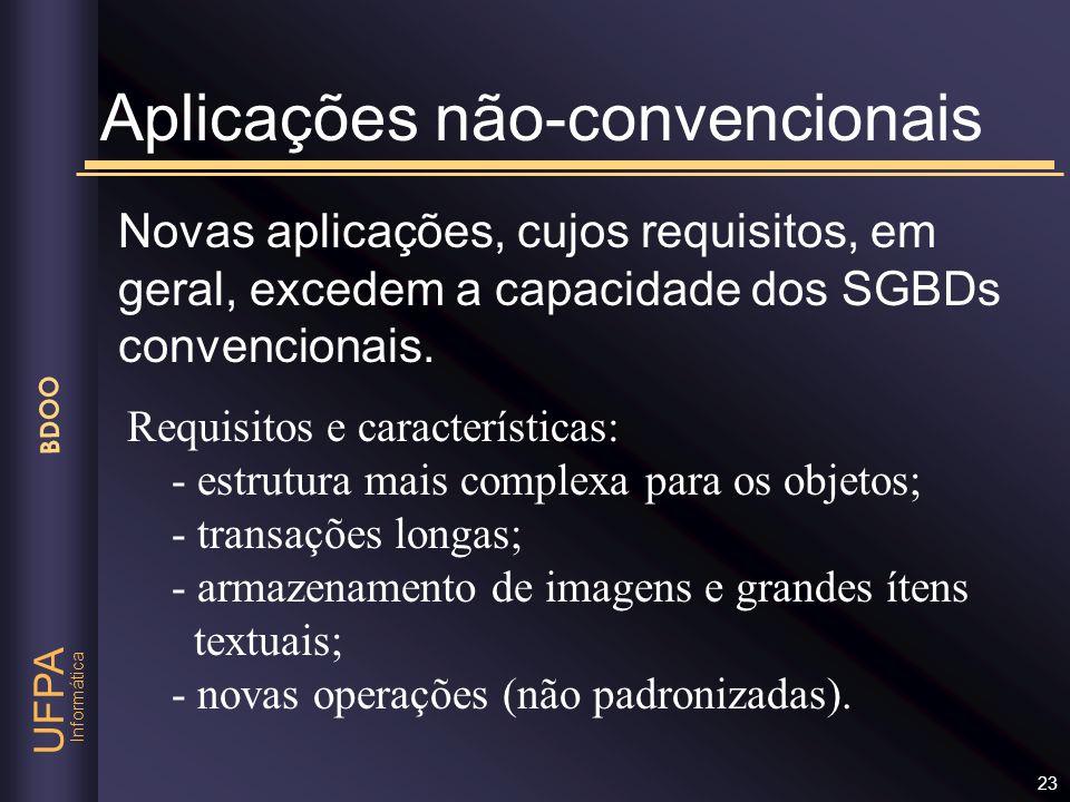 Informática UFPA BDOO 23 Novas aplicações, cujos requisitos, em geral, excedem a capacidade dos SGBDs convencionais. Aplicações não-convencionais Requ