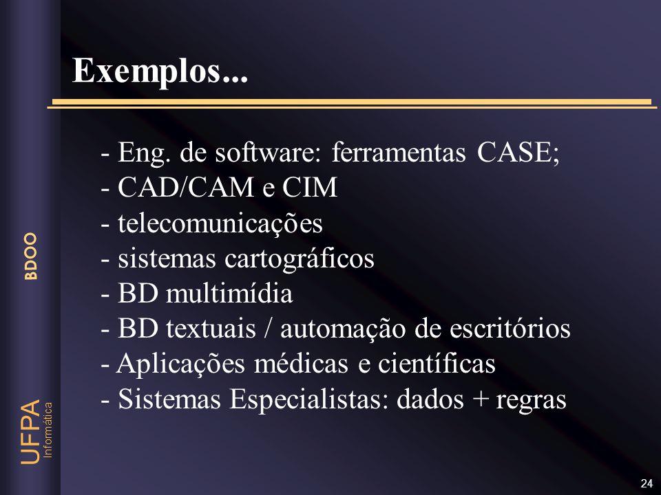 Informática UFPA BDOO 24 - Eng. de software: ferramentas CASE; - CAD/CAM e CIM - telecomunicações - sistemas cartográficos - BD multimídia - BD textua