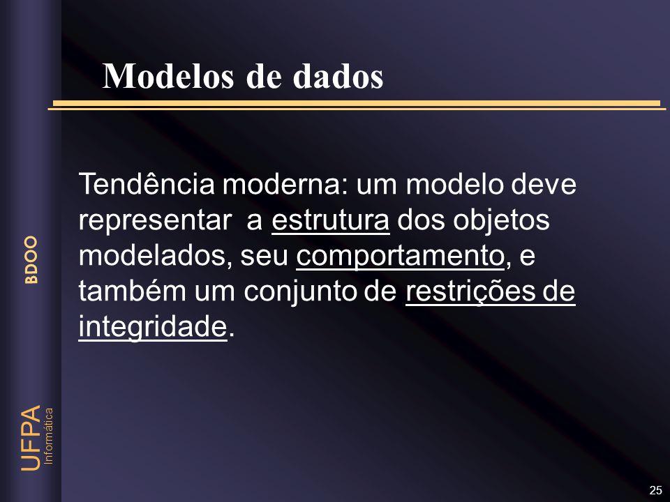 Informática UFPA BDOO 25 Tendência moderna: um modelo deve representar a estrutura dos objetos modelados, seu comportamento, e também um conjunto de r