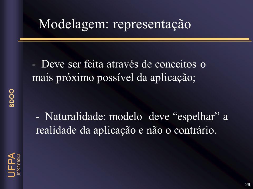Informática UFPA BDOO 26 - Deve ser feita através de conceitos o mais próximo possível da aplicação; Modelagem: representação - Naturalidade: modelo d