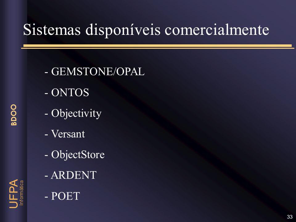 Informática UFPA BDOO 33 Sistemas disponíveis comercialmente - GEMSTONE/OPAL - ONTOS - Objectivity - Versant - ObjectStore - ARDENT - POET