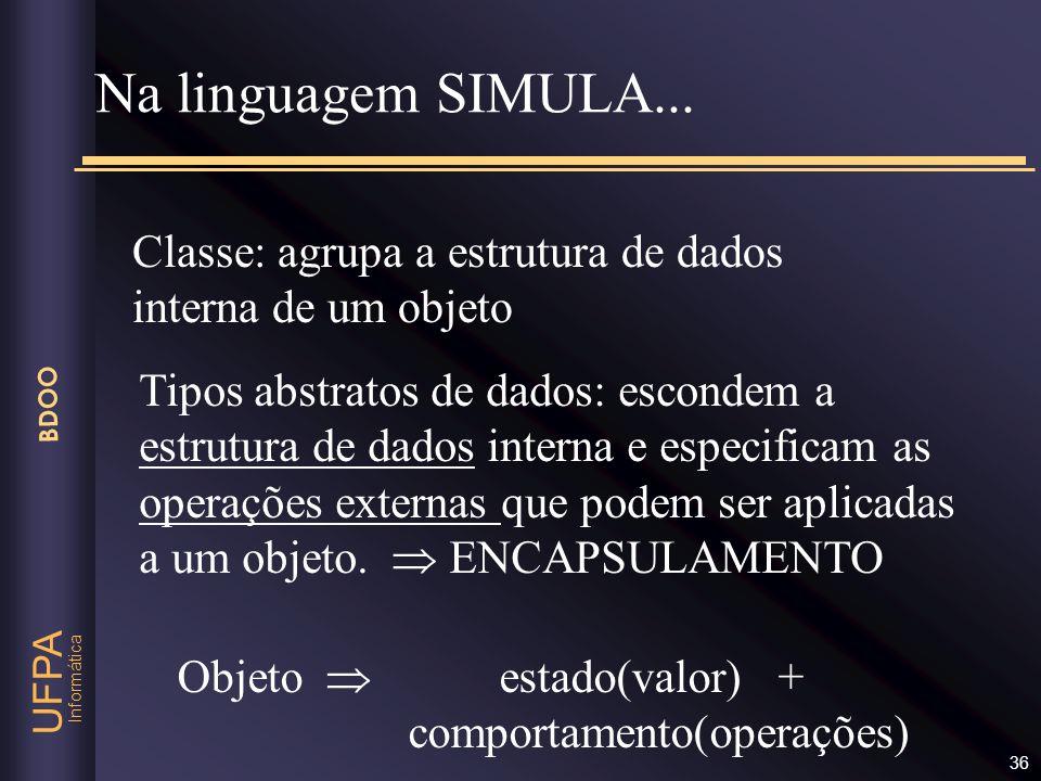 Informática UFPA BDOO 36 Classe: agrupa a estrutura de dados interna de um objeto Na linguagem SIMULA... Tipos abstratos de dados: escondem a estrutur