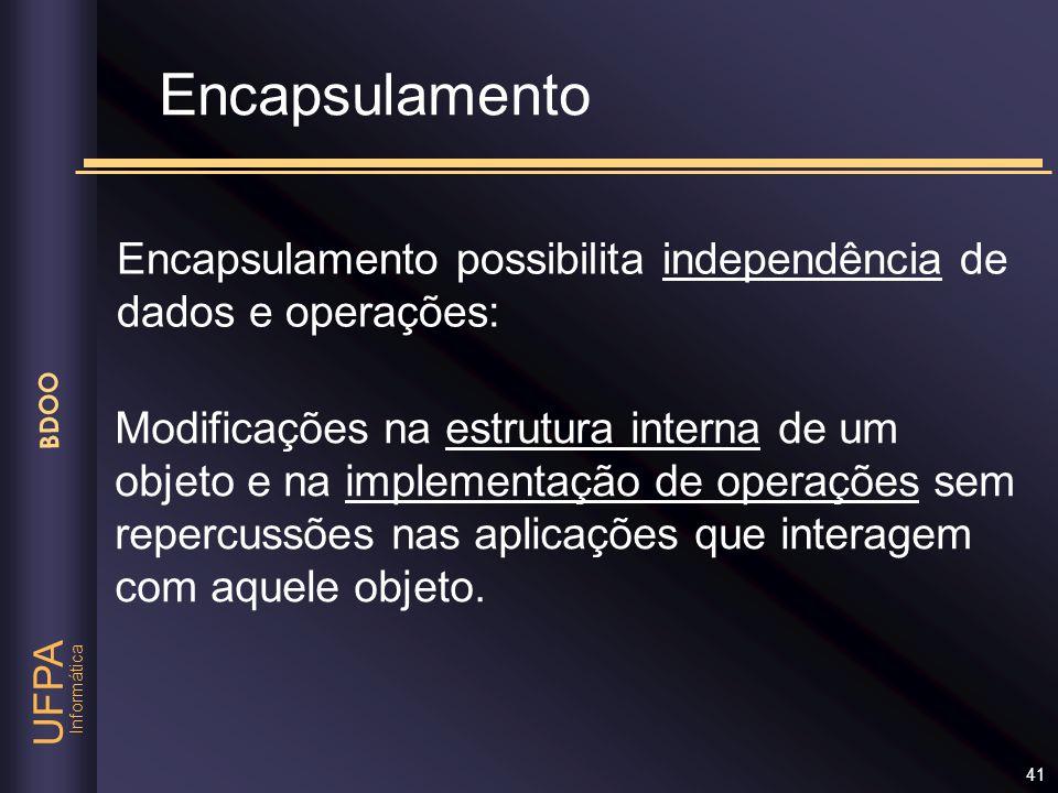 Informática UFPA BDOO 41 Encapsulamento Encapsulamento possibilita independência de dados e operações: Modificações na estrutura interna de um objeto