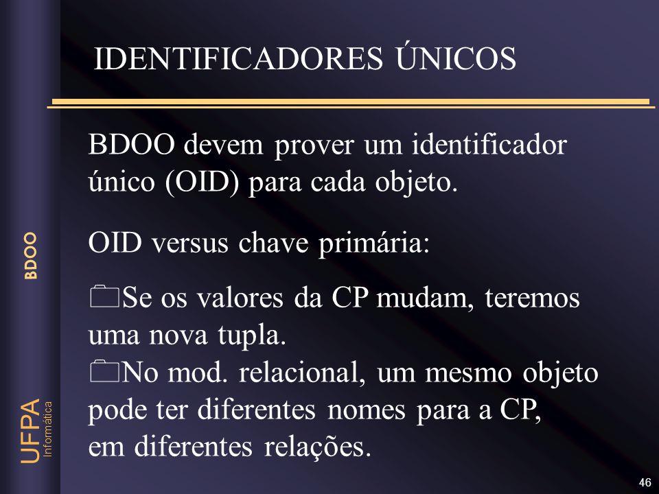 Informática UFPA BDOO 46 IDENTIFICADORES ÚNICOS OID versus chave primária: Se os valores da CP mudam, teremos uma nova tupla. No mod. relacional, um m