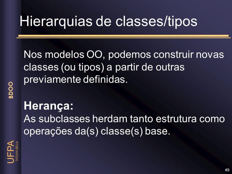 Informática UFPA BDOO 49 Hierarquias de classes/tipos Nos modelos OO, podemos construir novas classes (ou tipos) a partir de outras previamente defini