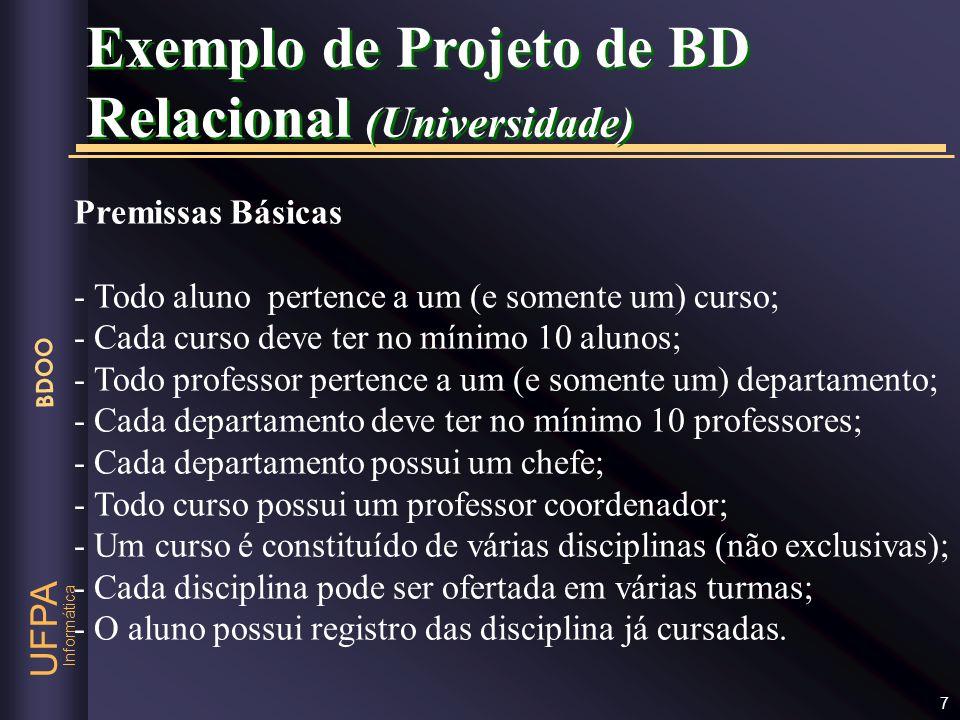 Informática UFPA BDOO 7 Premissas Básicas - Todo aluno pertence a um (e somente um) curso; - Cada curso deve ter no mínimo 10 alunos; - Todo professor