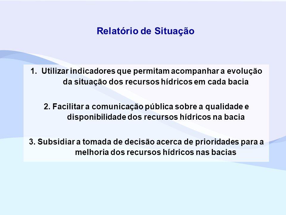 Relatório de Situação 1. Utilizar indicadores que permitam acompanhar a evolução da situação dos recursos hídricos em cada bacia 2. Facilitar a comuni